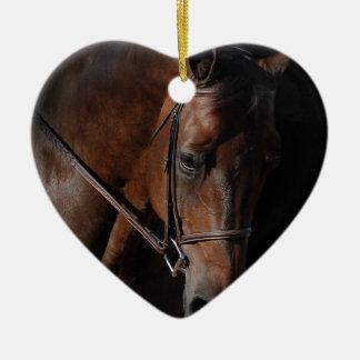 Bay Horse on Black Ceramic Heart Decoration