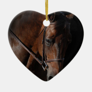 Bay Horse on Black Christmas Ornament