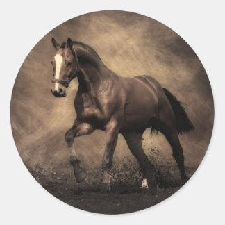 Bay Horse Round Sticker
