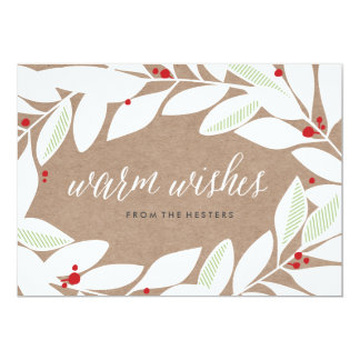 Bay Leaf Sprigs Floral Holiday Card
