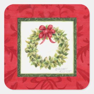 Bay Leaf Wreath Christmas Stickers