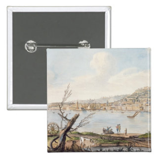 Bay of Naples from sea shore near the Maddalena Br 15 Cm Square Badge