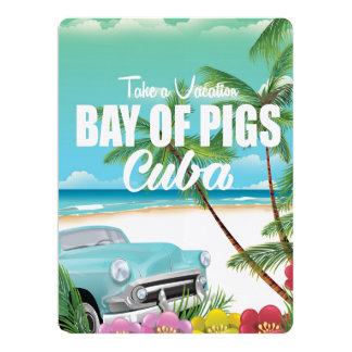 Bay of Pigs, Cuba beach vacation poster 17 Cm X 22 Cm Invitation Card