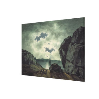 Bay Scene in Moonlight, 1787 (w/c over pencil on p Gallery Wrap Canvas