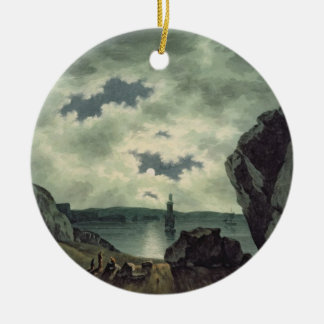 Bay Scene in Moonlight, 1787 (w/c over pencil on p Round Ceramic Decoration