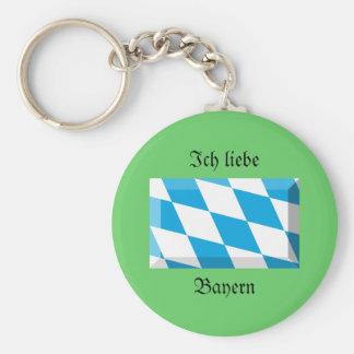 Bayern Flag Gem Basic Round Button Key Ring
