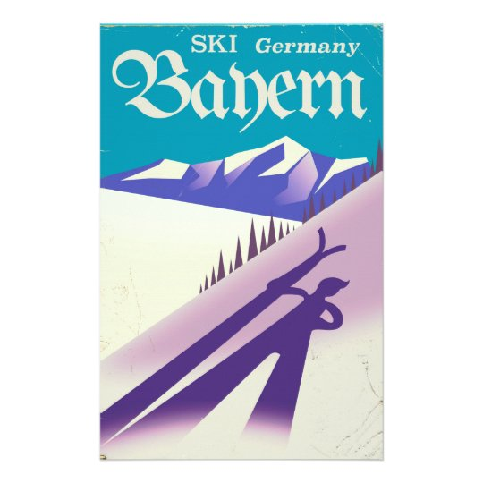 Bayern Germany vintage Ski vacation poster Stationery