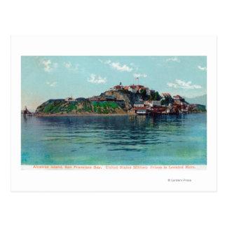 Bayview of Alcatraz Island and Prison Postcard