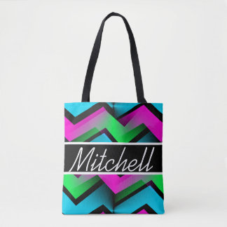 BB Abstract Zigzag Personalized Tote Bag