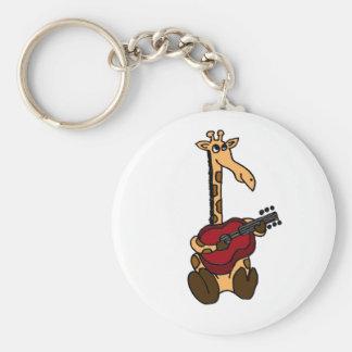 BB- Awesome Giraffe Playing Guitar Basic Round Button Key Ring