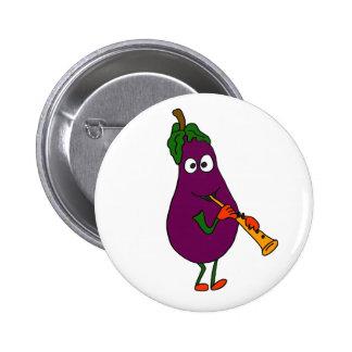 BB- Eggplant Playing Clarinet Cartoon 6 Cm Round Badge
