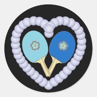BB Ping Pong Flower Heart Round Sticker