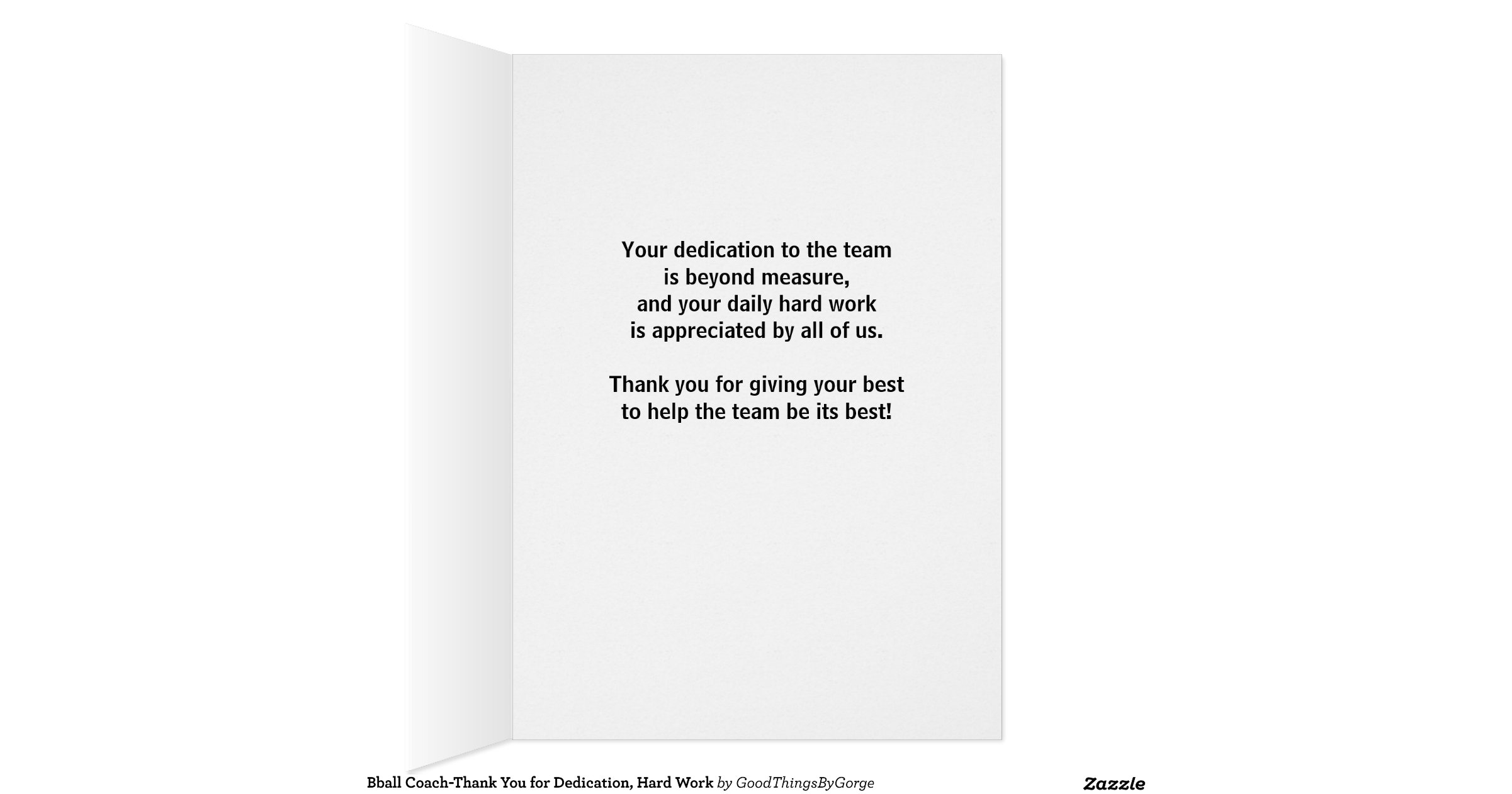 Bball Coach-Thank You for Dedication, Hard Work Greeting