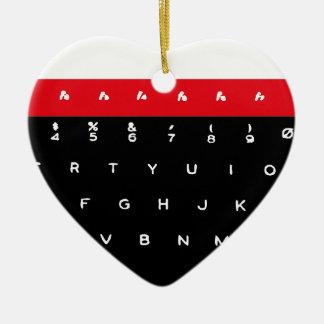 BBC Micro Keyboard Keys Ceramic Heart Decoration