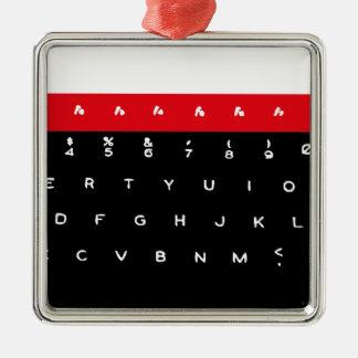 BBC Micro Keyboard Keys Silver-Colored Square Decoration