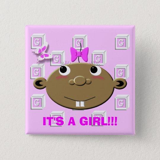 BBGBLOCKS, IT'S A GIRL!!! 15 CM SQUARE BADGE