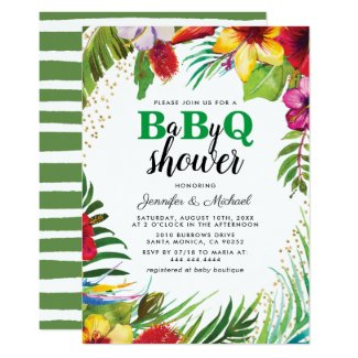 BBQ Baby Couples Shower | Tropical Babyq Barbecue Invitation
