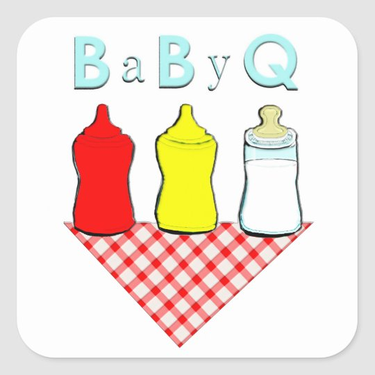 BBQ Baby Shower Square Sticker