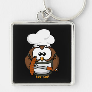BBQ Cook Owl Silver-Colored Square Key Ring