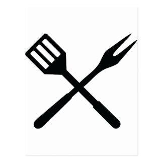 BBQ cutlery icon Postcards