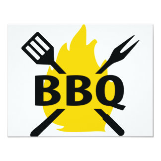 BBQ cutlery with flames icon 11 Cm X 14 Cm Invitation Card