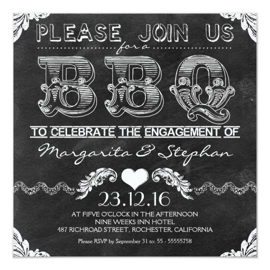 BBQ engagement party black chalkboard invitations