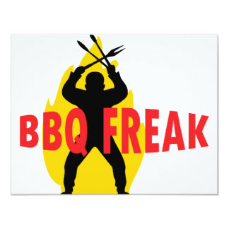 BBQ-Freak with cutlery and flame 11 Cm X 14 Cm Invitation Card
