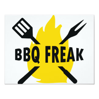 BBQ-Freak with cutlery and flame icon 11 Cm X 14 Cm Invitation Card