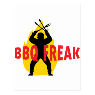BBQ-Freak with cutlery and flame Postcard