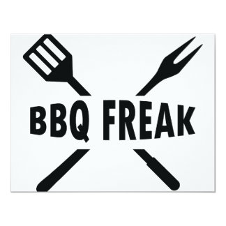 BBQ-Freak with cutlery icon 11 Cm X 14 Cm Invitation Card