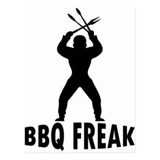 BBQ-freak with cutlery Postcard