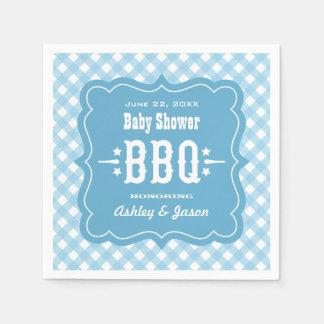 BBQ Gingham Plaid Napkins | Blue and White Disposable Napkins