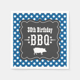 BBQ Gingham Plaid Napkins | Blue Charcoal Black Disposable Serviette