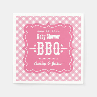 BBQ Gingham Plaid Napkins | Pink and White Disposable Napkins