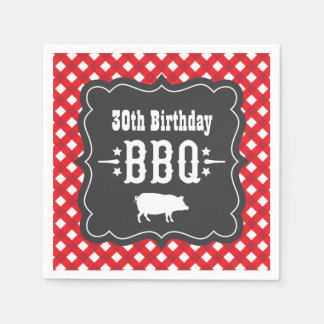 BBQ Gingham Plaid Napkins | Red and Charcoal Black Paper Napkin