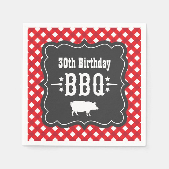 BBQ Gingham Plaid Napkins | Red and Charcoal