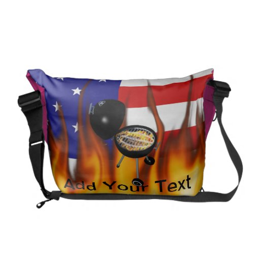 BBQ Grill and American Flag Design Messenger Bag