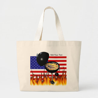BBQ Grill and American Flag Design Canvas Bag