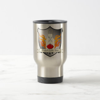 BBQ Grilling Coat of Arms Humourous Vector Design Stainless Steel Travel Mug
