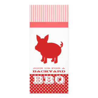 BBQ Invitation - Red and Pink Pig