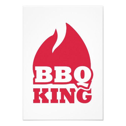 BBQ King flame fire Invitations