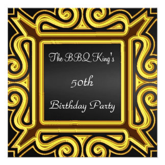 BBQ King Popular Elegant Black Gold Invitation