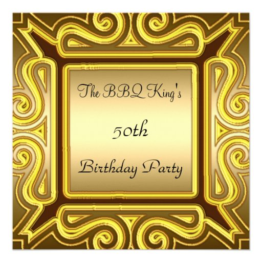 BBQ King Popular Elegant Gold  Invitation