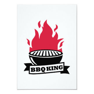 BBQ King red flame 9 Cm X 13 Cm Invitation Card