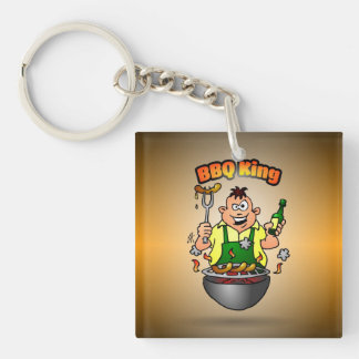 BBQ King Single-Sided Square Acrylic Key Ring