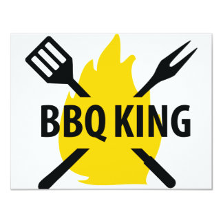 BBQ King with flame icon 11 Cm X 14 Cm Invitation Card
