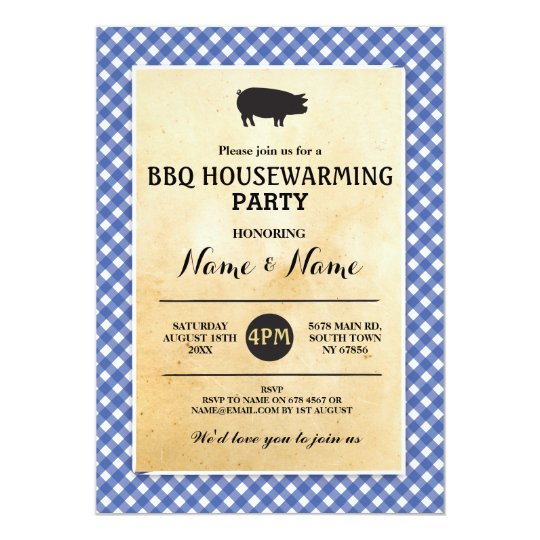 BBQ New Home Housewarming Rustic Blue Wood Invite