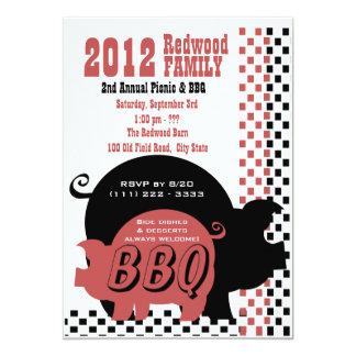 BBQ or Pig Roast Checker 13 Cm X 18 Cm Invitation Card