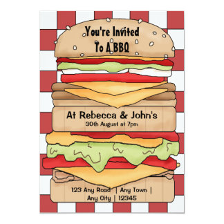 BBQ Party Big Burger Custom Invitations