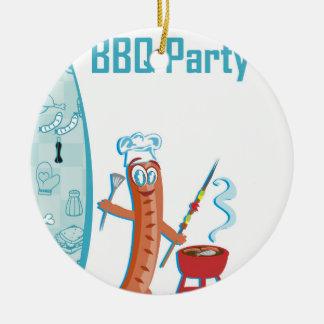 BBQ Party Round Ceramic Decoration